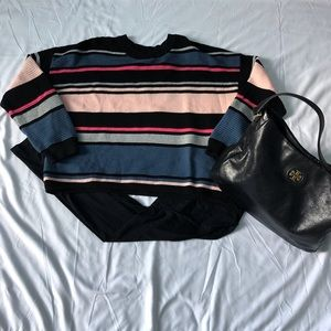 Divided By H&M Oversized Striped Sweater Crew Neck